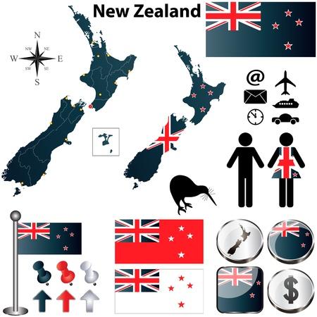 bandera de nueva zelanda: Nueva Zelanda establecer con forma detallada país con las fronteras de la región, banderas e iconos Vectores