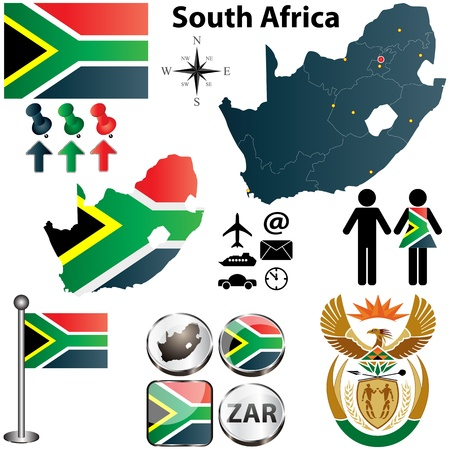 rand: South Africa map with flag, coat of arms and other icons on white
