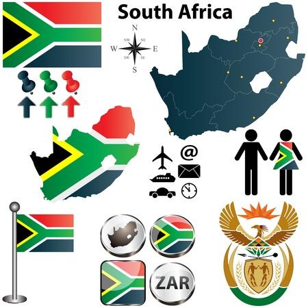 �south: Sud Africa mappa con bandiera, stemma e altre icone su bianco