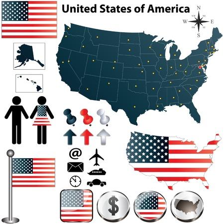 ville usa: ensemble de la forme pays Etats-Unis avec des drapeaux et des ic�nes sur fond blanc