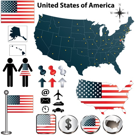 set of USA country shape with flags and icons on white background Illusztráció