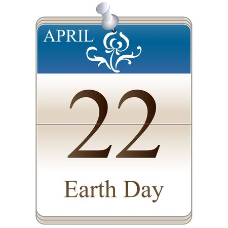 date white block calendar Earth Day, April 22 Vector