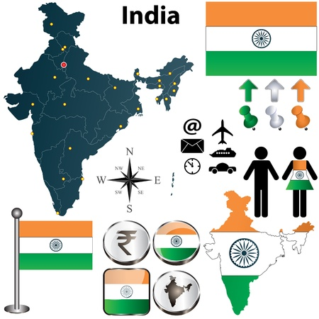 boundaries: Vector of India set with detailed country shape with regions borders, flags and icons