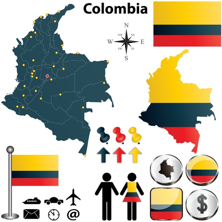 Colombie sertie de forme détaillée du pays avec les frontières de la région, des drapeaux et des icônes Vecteurs