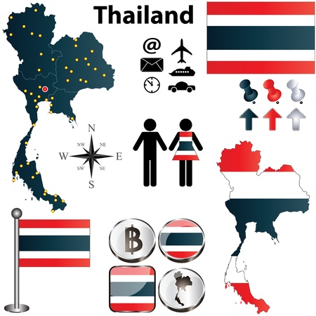 Thailand set with detailed country shape with regions borders, flags and icons Illustration