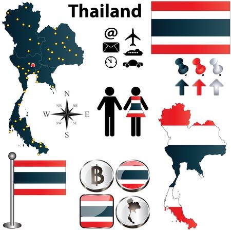 bundesl�nder: Thailand Set mit detaillierten Land Form mit Regionen hinweg, Fahnen und Symbole