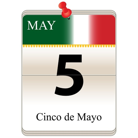 5th: Vector of the date white block calendar Cinco de Mayo, May 5th Illustration
