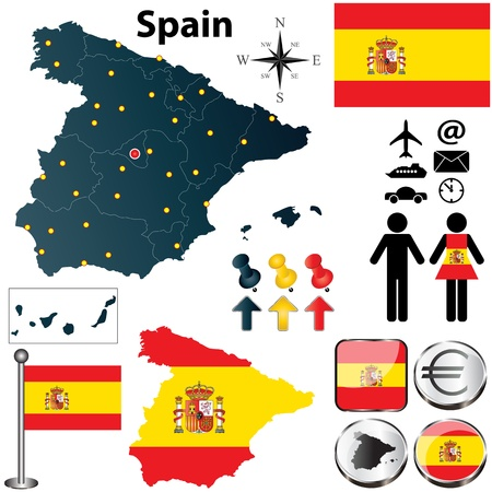 spain map: Vector set of Spain country shape with flags and icons isolated on white background