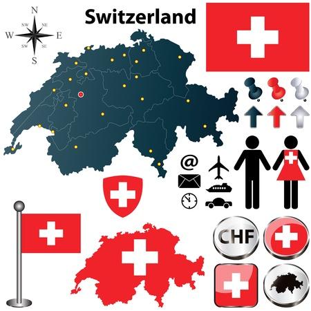 zwitserland vlag: Vector set van Zwitserland land vorm met vlaggen, windroos en pictogrammen geïsoleerd op een witte achtergrond