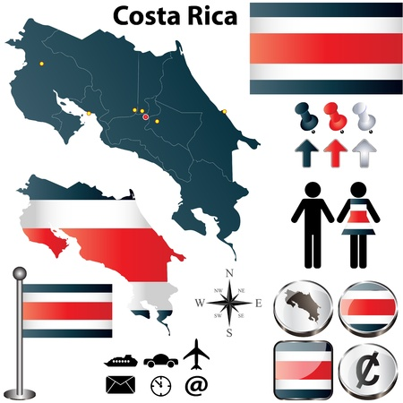 Costa Rica set with detailed country shape with region borders, flags and icons