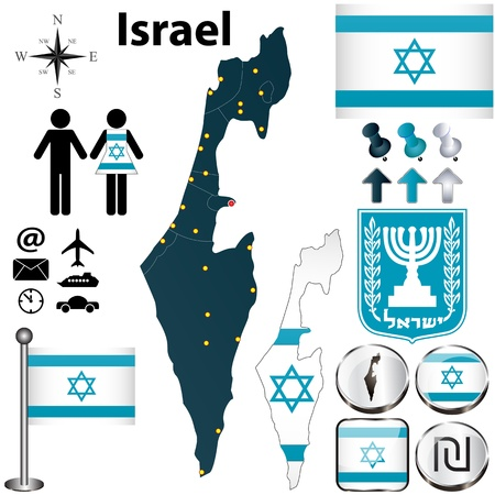 israel flag: Israel set with detailed country shape with region borders, flags and icons