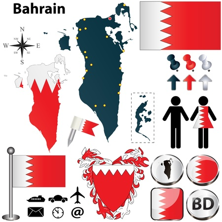 bahrain: Vector of Bahrain set with detailed country shape with region borders, flags and icons Illustration