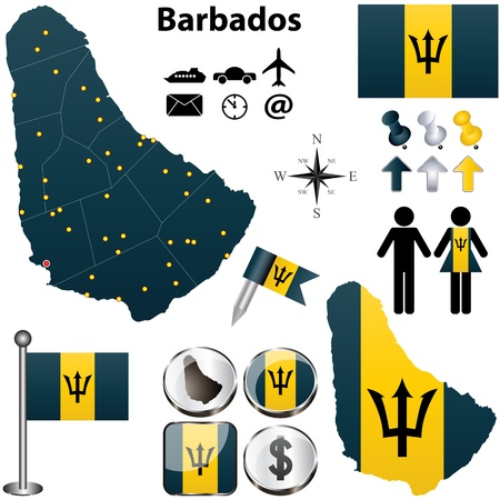 barbados: Vector of Barbados set with detailed country shape with region borders, flags and icons
