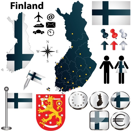 finland: Vector set of Finland country shape with flags and icons isolated on white background