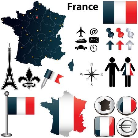 francia: Conjunto de vectores de la forma de pa�s de Francia con banderas y iconos aislados sobre fondo blanco