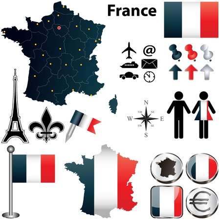 Vector set of France country shape with flags and icons isolated on white background