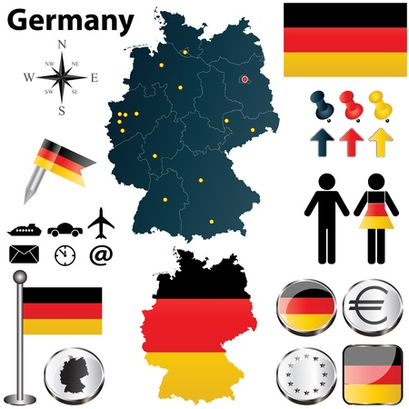 bandera alemania: Conjunto de vectores de la forma de Alemania pa�s con banderas y iconos aislados sobre fondo blanco