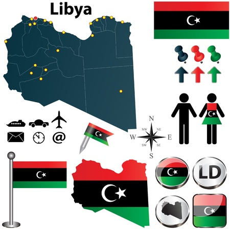 Vector set of Libya country shape with flags and icons isolated on white background Vector