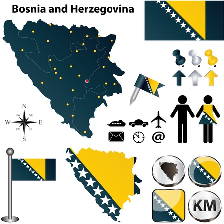 bosnia and herzegovina flag: Vector of Bosnia and Herzegovina set with detailed country shape with region borders, flags and icons
