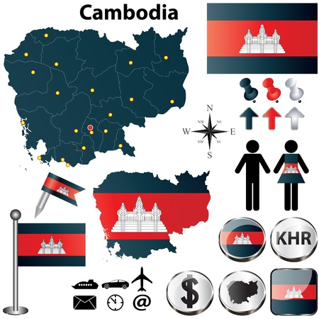 Vector of Cambodia set with detailed country shape with region borders, flags and icons Ilustrace