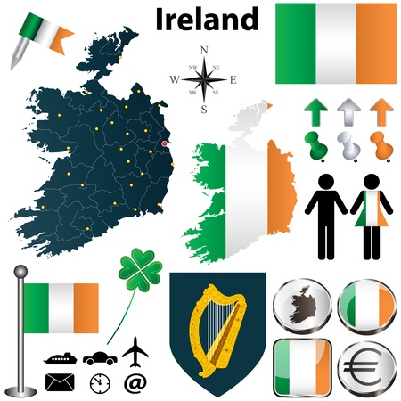 Vector set of Ireland country with flags and buttons on white background Vector