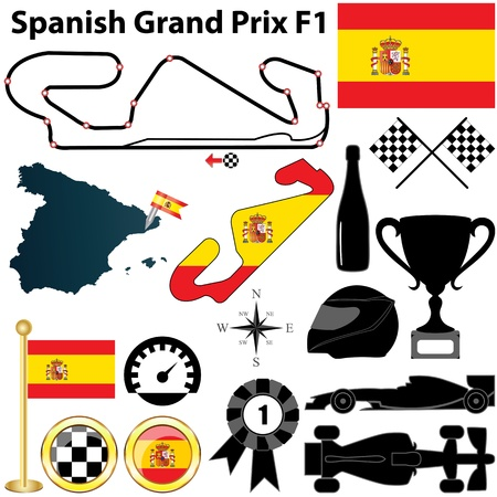f1: Vector set of Spanish Grand Prix F1 with country shape, flags and sport icons isolated on white background