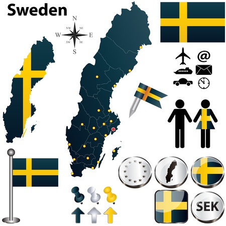 finland: Vector set of Sweden country shape with flags and icons isolated on white background