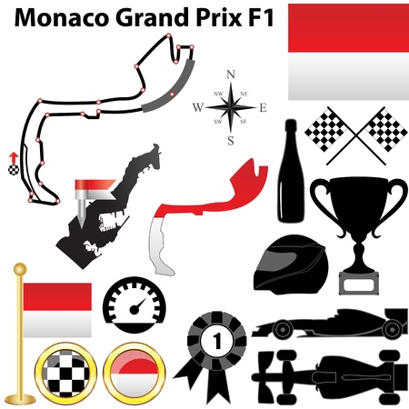 grand prix: set of Monaco Grand Prix Formula 1 with country shape, flags and sport icons isolated on white background Illustration