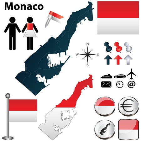 monaco: Monaco set with detailed country shape with region borders, flags and icons