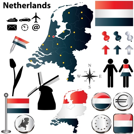 set of Netherlands country shape with flags, windmills and icons isolated on white background