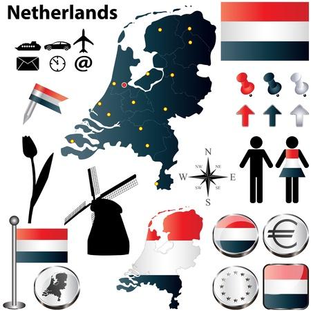 set van Nederland land vorm met vlaggen, windmolens en pictogrammen geïsoleerd op een witte achtergrond