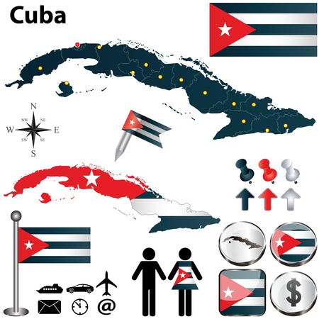 boundaries: Cuba set with detailed country shape with region borders, flags and icons