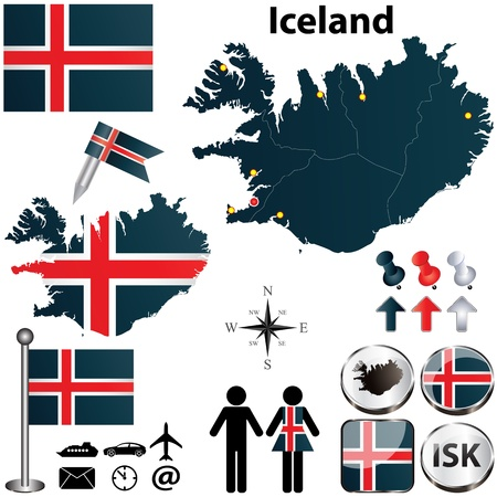iceland: Iceland set with detailed country shape with region borders, flags and icons