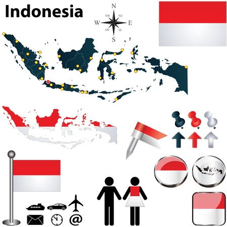 Indonesia set with detailed country shape with region borders, flags and icons