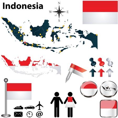 Indonesien gesetzt, mit detaillierten Land-Shape mit Region grenzt, Fahnen und Icons Standard-Bild - 19605665
