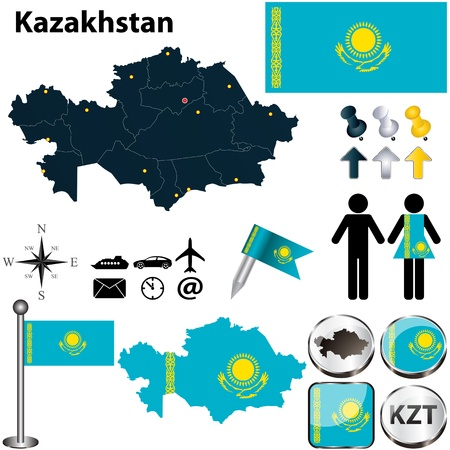 kazakhstan:  Kazakhstan set with detailed country shape with region borders, flags and icons