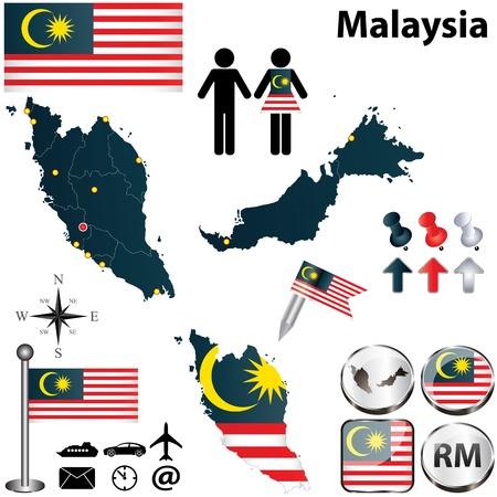 マレーシアの地域の境界線、フラグのアイコンと詳細な国の形をした設定  イラスト・ベクター素材