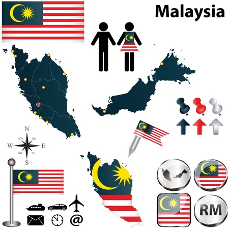 Malaysia set with detailed country shape with region borders, flags and icons