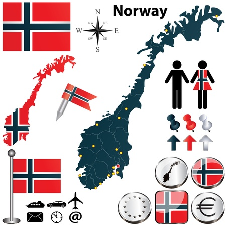 Norway set with detailed country shape with region borders, flags and icons Vector