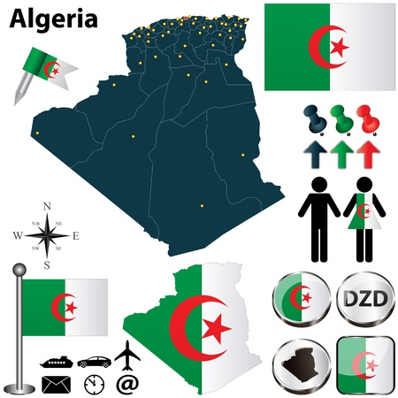 Vector of Algeria set with detailed country shape with region borders, flags and icons Vector