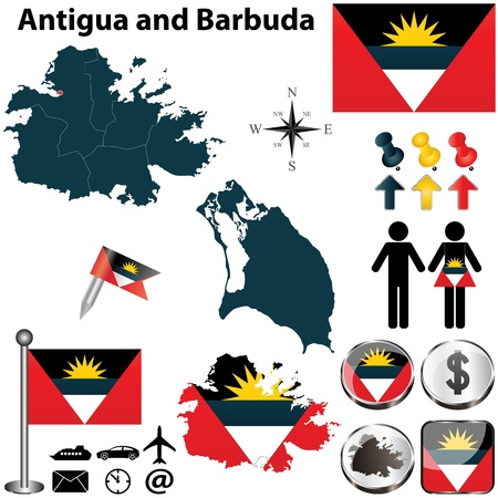 antigua: Vector of Antigua and Barbuda set with detailed country shape with region borders, flags and icons Illustration