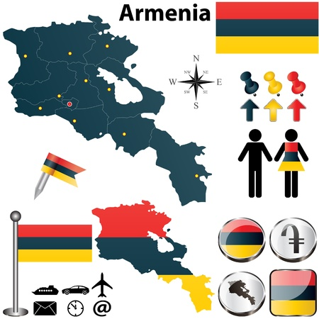 dram: Vector of Armenia set with detailed country shape with region borders, flags and icons Illustration