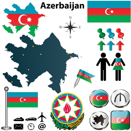 azerbaijan: Vector of Azerbaijan set with detailed country shape with region borders, flags and icons