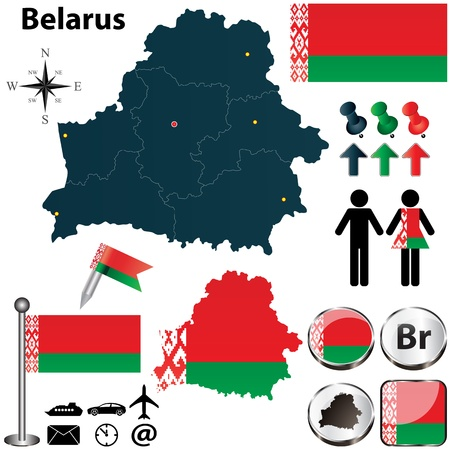 belarus: Vector of Belarus set with detailed country shape with region borders, flags and icons Illustration