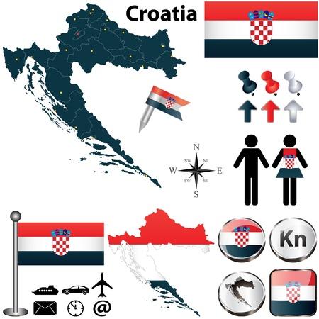 bandera de croacia: Vector de Croacia establece con forma detallada los países con fronteras región, banderas e iconos