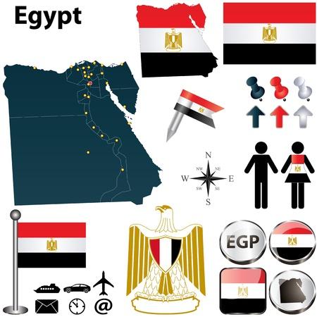 bandera de egipto: Vector de Egipto establece con forma detallada los países con fronteras región, banderas e iconos