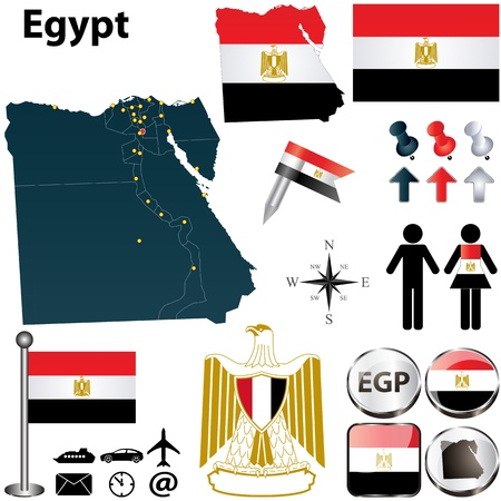 egypt flag: Vector of Egypt set with detailed country shape with region borders, flags and icons Illustration