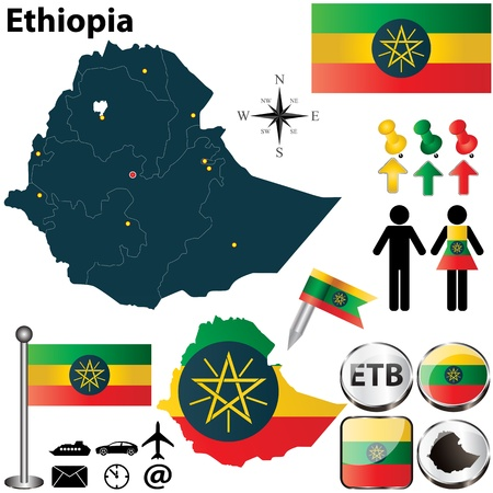 amharic: Vector of Ethiopia set with detailed country shape with region borders, flags and icons