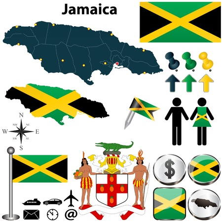 jamaican flag: Vector of Jamaica set with detailed country shape with region borders, flags and icons Illustration