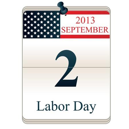 アメリカの国旗と労働日のカレンダーのベクトル